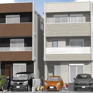 須ヶ口の家パース 2棟1